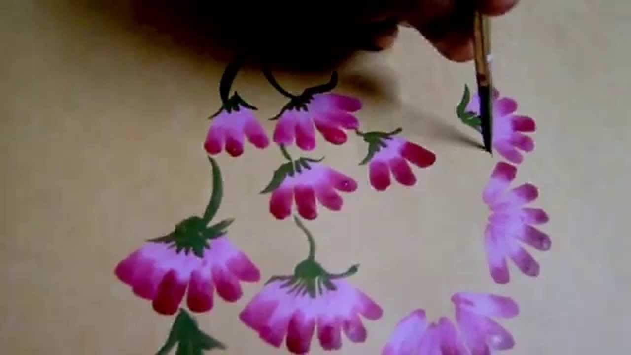 Bed sheet design for paintings - One Stroke Fabric Painting How To Paint Flowers By Premlata Youtube