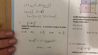 345 TYT Matematik Çarpanlara Ayırma Test-4 Anlatımlı Çözümleri(2018-2019 basım)