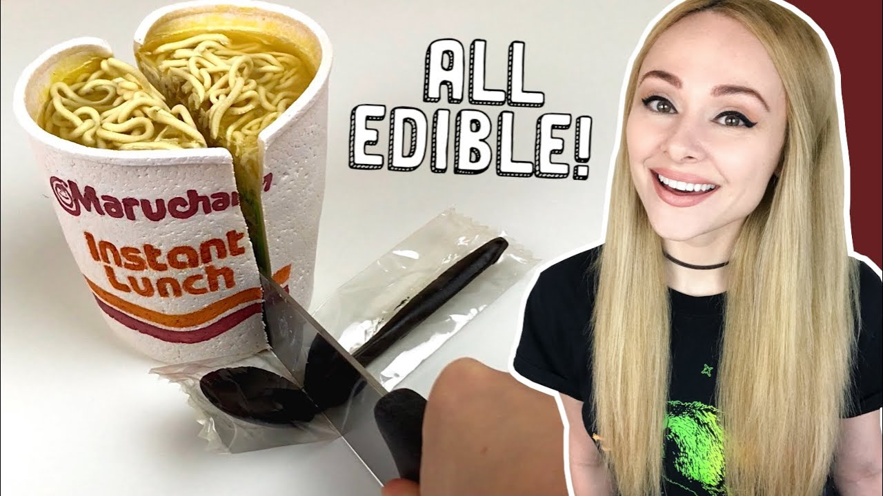 Making a CAKE that looks JUST like Instant Ramen with an EDIBLE plastic spoon!