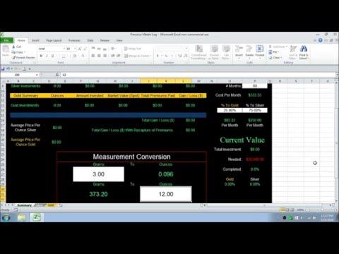 Tracking Silver & Gold With Excel Spreadsheet