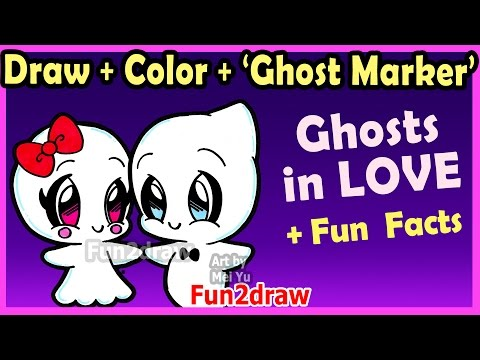 How to Draw and Color CUTE Ghost Couple in LOVE - Easy Cartoon Drawings Halloween Fun2draw