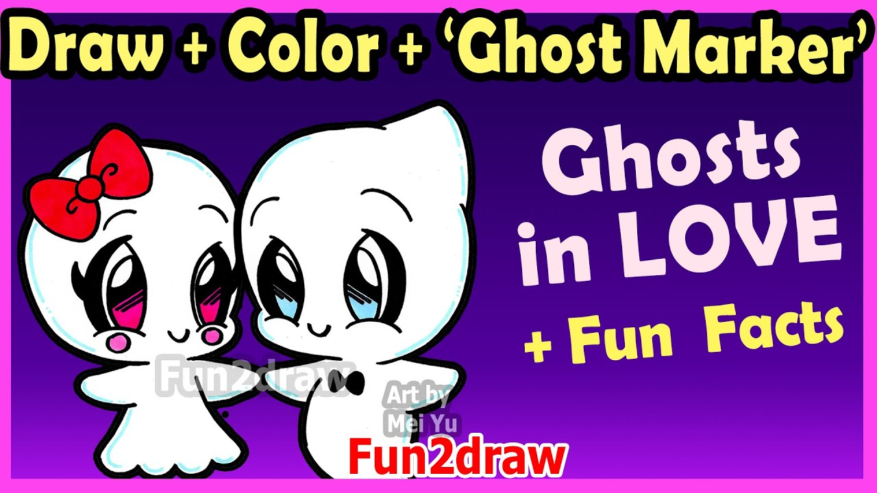How To Draw And Color CUTE Ghost Couple In LOVE