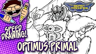 Speed Drawing: OPTIMUS PRIMAL (TRANSFORMERS BEAST MACHINES)