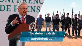 """""""No deben existir autodefensas, no soy partidario de que la gente se arme. La seguridad corresponde al Estado"""", expone el presidente Andrés Manuel López Obrador sobre la supuesta aparición de un grupo en Michoacán para defender huertas de aguacate."""
