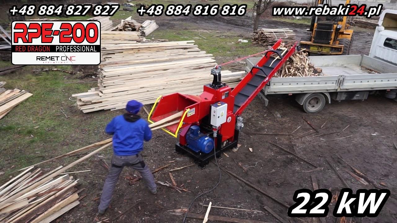 RPE200 22kw Rębak walcowy MEGA MASZYNA do TARTAKU gałęzi zrzyn