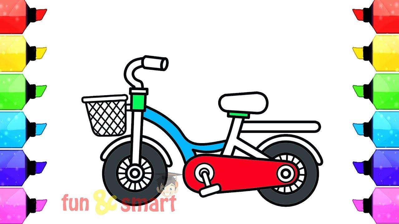 Cara Menggambar Dan Mewarnai Sepeda Tel