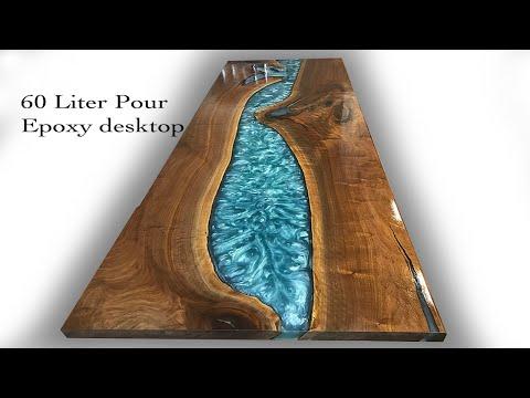 Epoxy River Table Desk.  6o liter pour-  How to DIY epoxy table-desk top