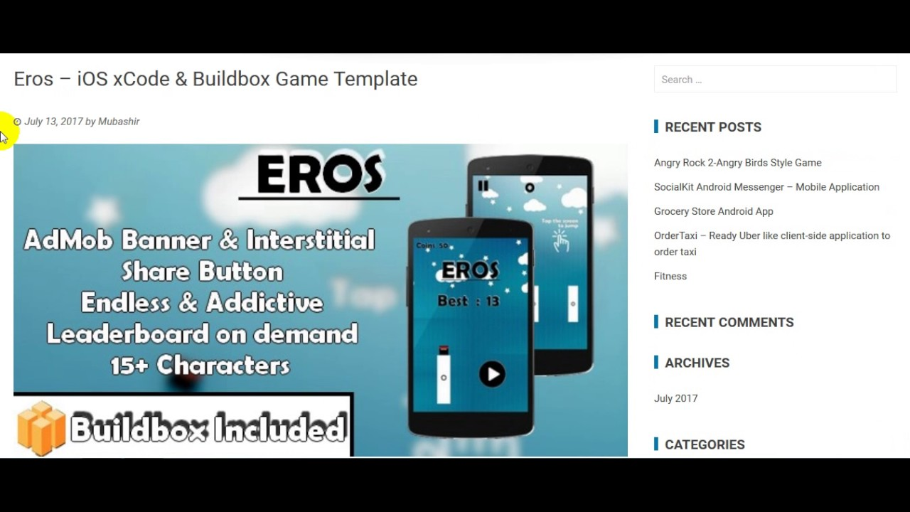 eros ios xcode buildbox game template free download youtube
