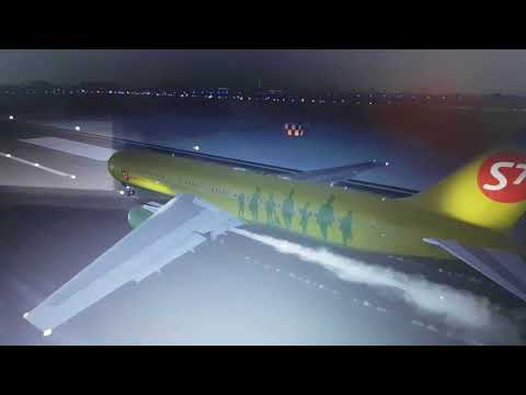 FSX: Siberia B767-300ER Rolling Takeoff at Moscow Shermetyevo Airport (Dusk Departure)