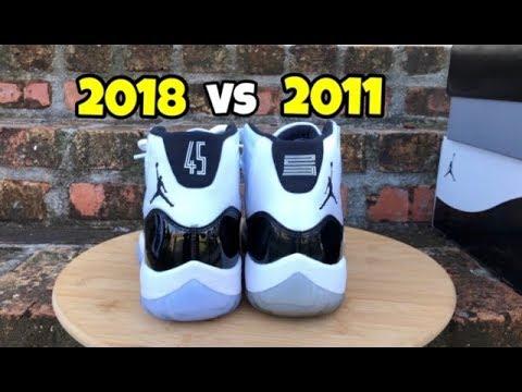 b7a112be160342 Jordan 11 Concord comparison 2011 VS 2018 - YouTube