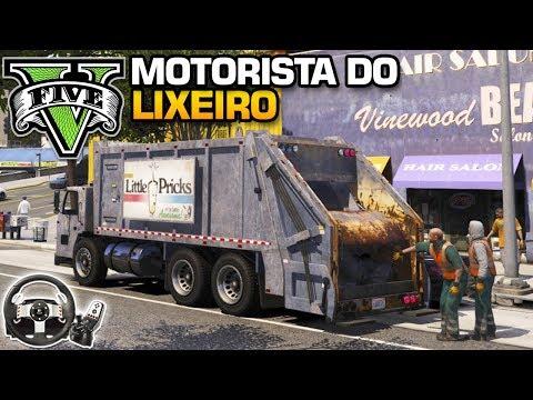 GTA V : TRABALHANDO COMO MOTORISTA DE CAMINHÃO DE LIXO - VOLANTE G 27