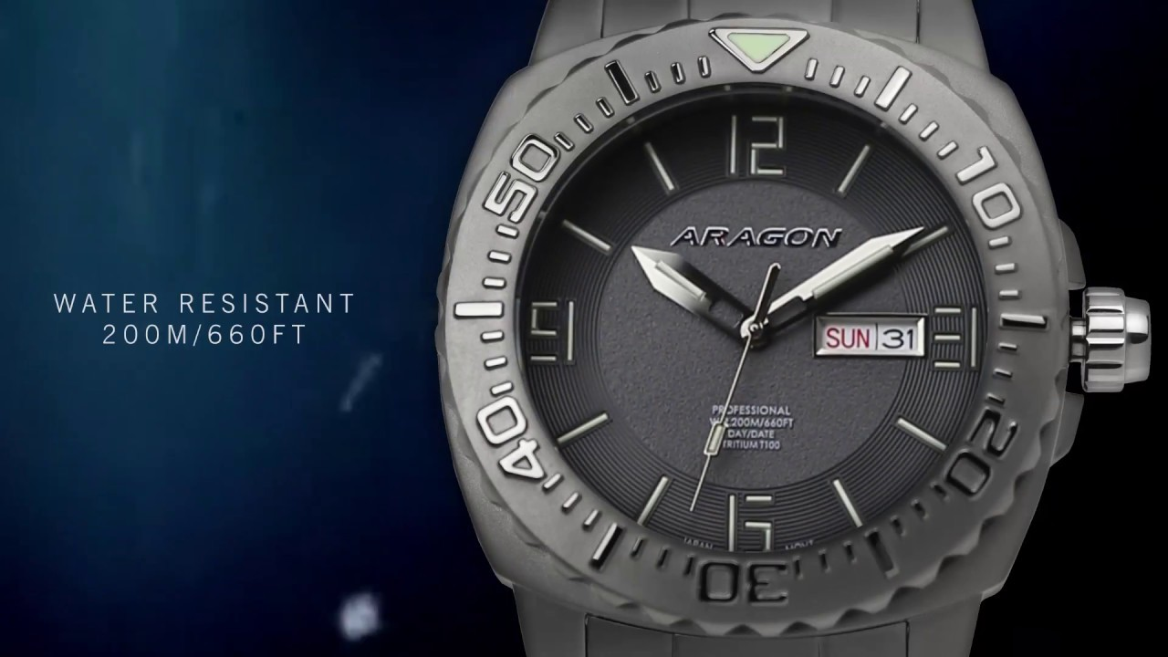 Aragon the self illuminating tritium t 100 seiko nh36 movement dive watch youtube for Tritium dive watches