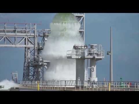 SLS Launchpad 39B Heat And Shockwave Suppresion System Testflow At NASA Kennedy Space Center
