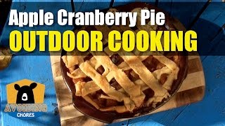 Baking an Apple Cranberry Pie Outdoors in a Lodge Cast Iron Dutch Oven