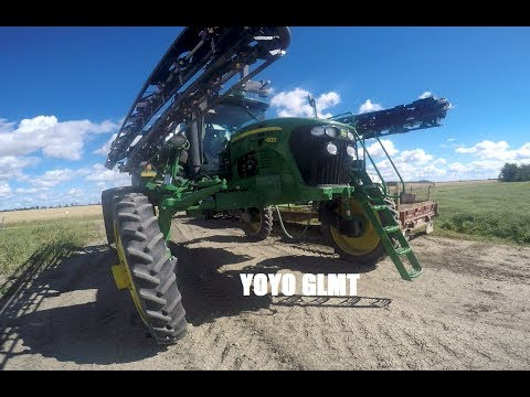 (GOPRO) Spraying time 2016 in Farm Alberta, CANADA. Sprayer JOHN DEERE 4830 and truck mack