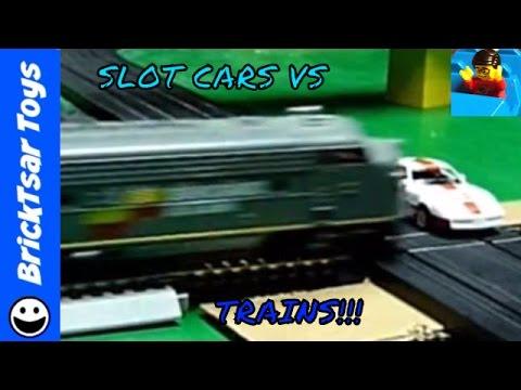 Slot Car Train crash compilation – Road & Rail train crossings and jump