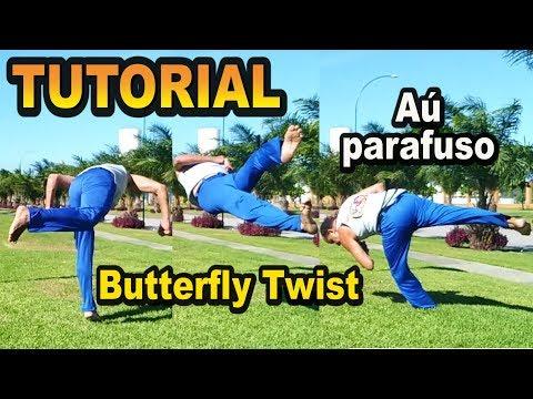 Tutorial capoeira (Aú parafuso / B-twist / Butterfly Twist / Andorinha / Pirulito) ENGLISH SUBTITLES