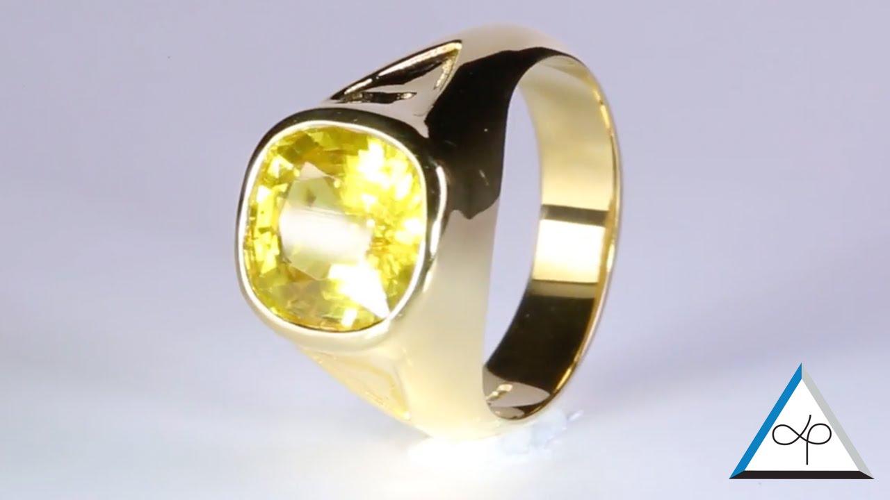 c186581ebf524 Yellow Sapphire Oval Shape Set In Gold Ring   Prakash Gems