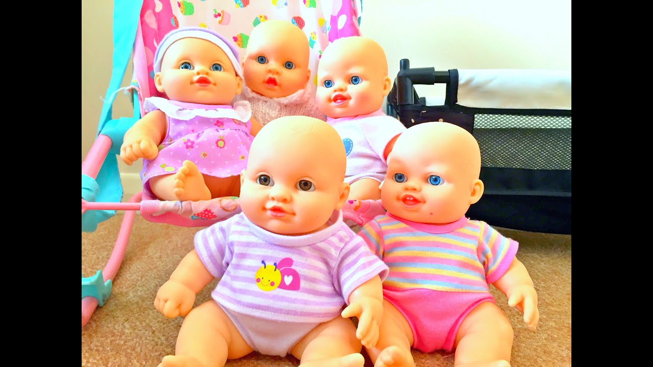 five little cute baby dolls / little tiny babies toy / cinco