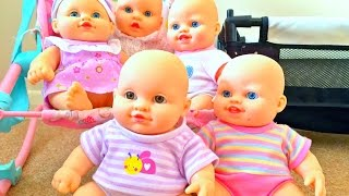 Five Little Cute Baby Dolls / Little Tiny  Babies Toy / Cinco Pequeños Muñecos/Kids Videos/