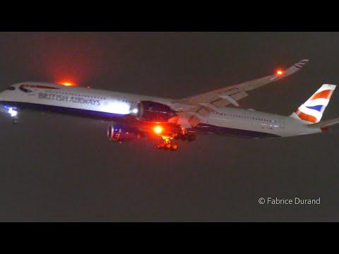 10 Heavies rainy morning landings on 27R at London Heathrow [LHR/EGLL]