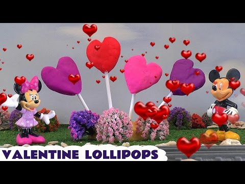 Valentine's Day Play Doh Surprise Egg Valentine Lollipops Disney Mickey Mouse Shopkins Toys Dough