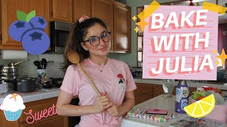 BAKE WITH JULIA  episode 1: blueberry lemon oat bars and  losing my mind   in the kitchen