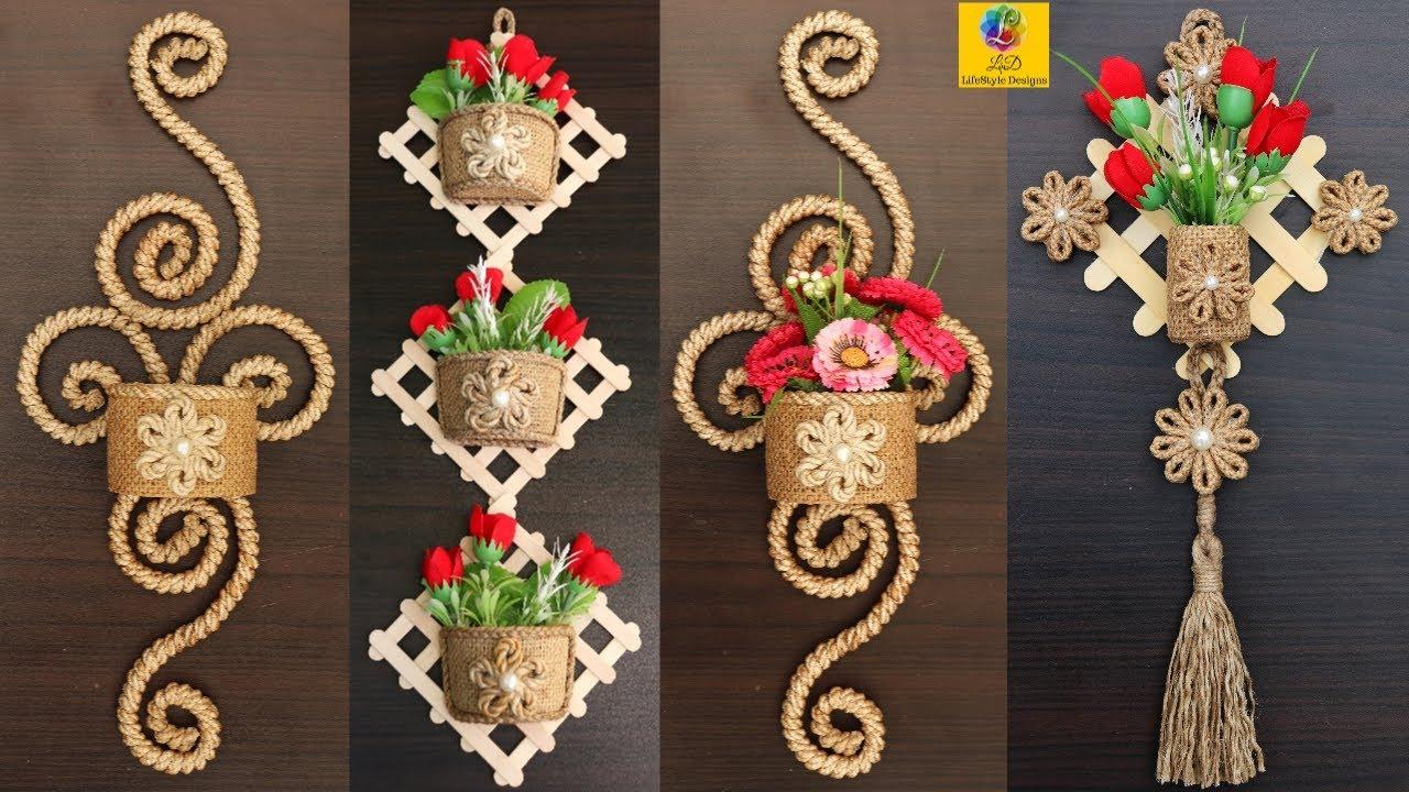 Best Wall Hanging Flower Vase Showpieces Wall Decor Jute Craft Idea Jute Craft Decoration Design Youtube