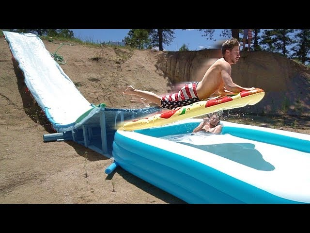 We Built A Water Slide RAMP Into Pools!
