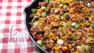 Tex Mex Ground Beef Skillet- I Heart Recipes