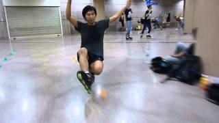 Freestyle Inline Slalom Trick: Toe Wheel Footgun A.k.a Deckchair