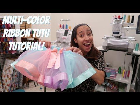 HOW TO MAKE A MULTI COLOR RIBBON TRIM TUTU! 3 Color Tutu! How I Cut My Tulle For Tutus!