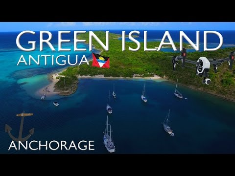 GREEN ISLAND ~ ANCHORAGE ~ ANTIGUA ~ Best UAV Drone Caribbean ~ WeBeYachting.com