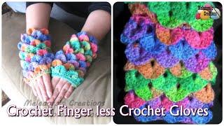How to Crochet Finger less Crochet Gloves - Crocodile Finger less Gloves - Crochet Tutorial