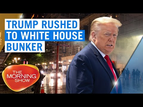 George Floyd riots: Donald Trump rushed to bunker as protesters surrounded White House | 7NEWS