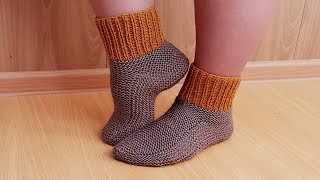 Тапочки носки для взрослых спицами Василиса