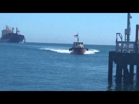 Cargo ship entering San Pedro Bay