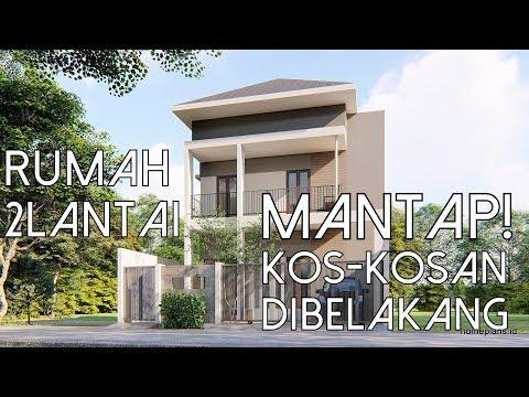Desain Rumah Lahan 9x15m Dua lantai dengan Kamar Kos Kosan di Belakang kode 192