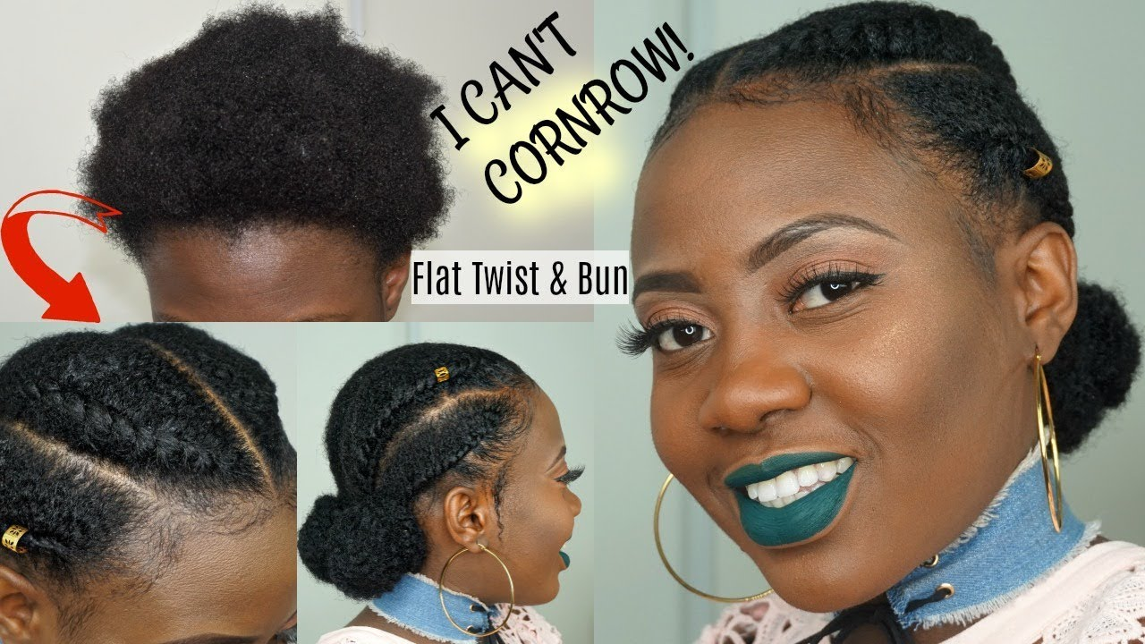 i can't cornrow!!! easy natural hair flat twist & bun tutorial w/ marley hair || protective style