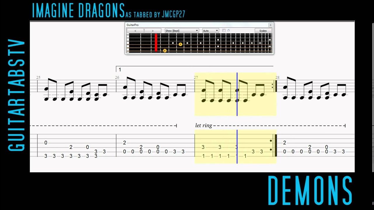 Demons By Imagine Dragons Fingerstyle Guitar Pro Tabs Arrangement
