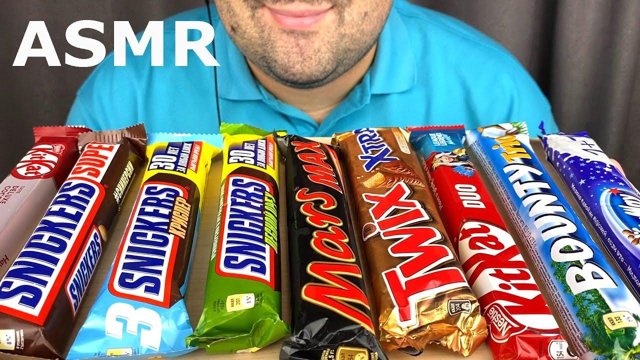 ASMR Chocolate Candy Bars (Snickers, KitKat, Mars, Twix, Bounty & Milky Way) Mukbang