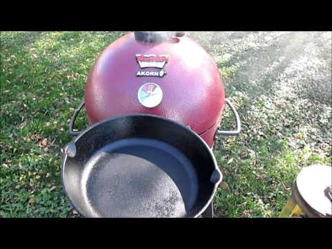 Cleaning Kamado Acorn Jr  Grill and Reseason Cast Iron Grate
