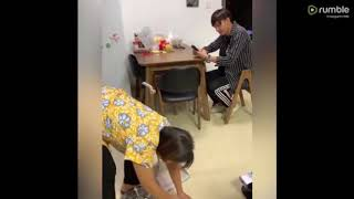 Mom getting angry at her son because he doing this action