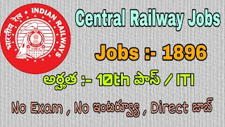 Central Railway Jobs 2018 | 10th Pass Jobs No Exam No Interview | Latest Govt Jobs