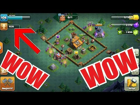 Clash Of Clans Bauarbeiter Base Auf 1500 Trophaen Youtube
