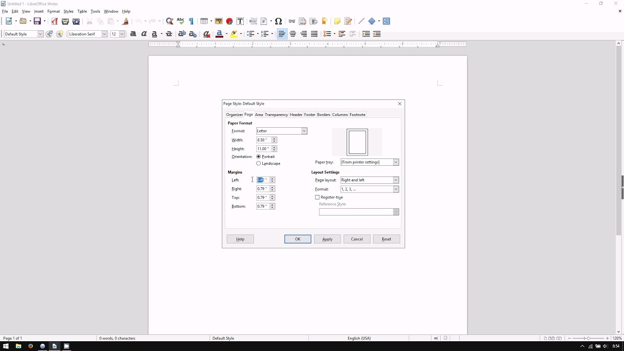 Libreoffice Writer How To Adjust Page Margins Youtube