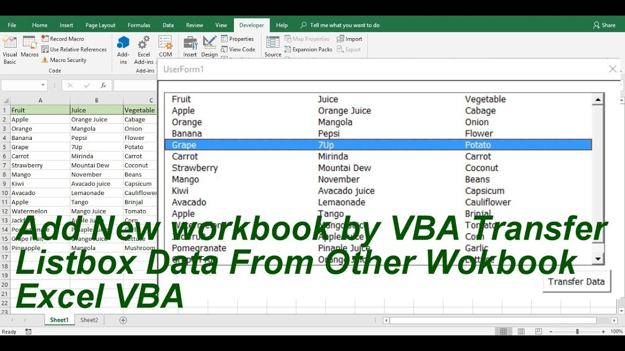 My Vision : New Workbook Add by VBA And Transfer Listbox data Excel VBA