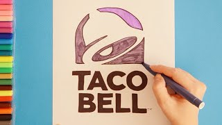 How to draw and color Taco Bell Logo