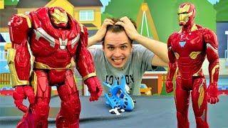 Видео для мальчиков. Герои Мстители: Железный Человек и Халкбастер спасают аэропорт!