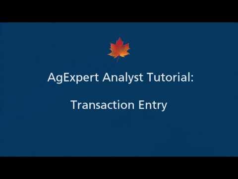 8) AgExpert Analyst Tutorial - Transaction Entry